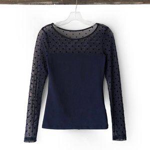 H&M sheer retro polka dot panel long sleeve top